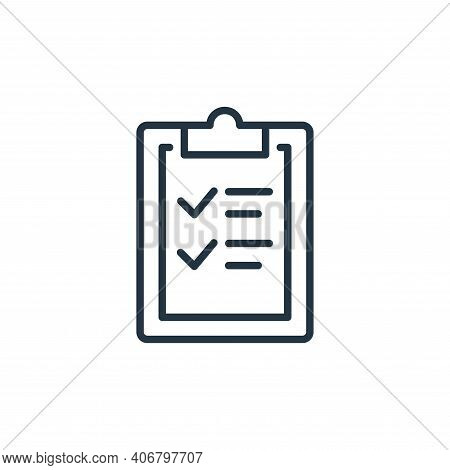 clipboard icon isolated on white background from stop virus collection. clipboard icon thin line out