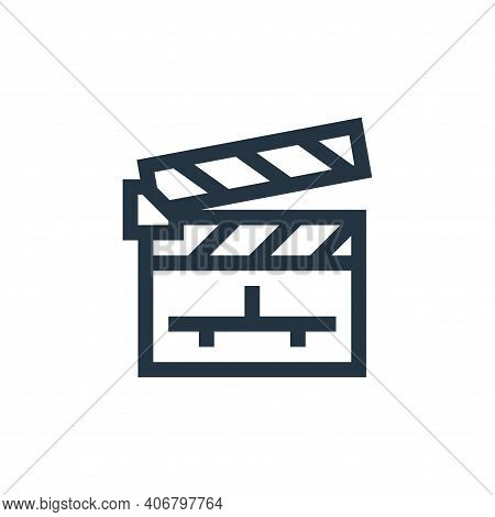 clapperboard icon isolated on white background from news collection. clapperboard icon thin line out