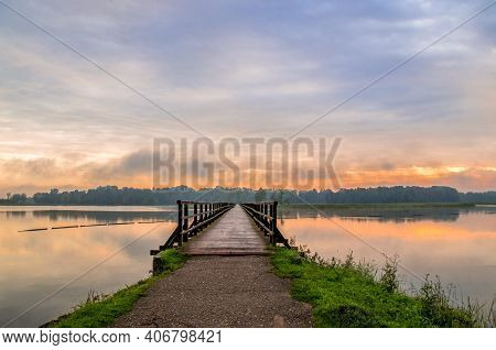 A Relaxing And Calm Morning With A Sunrise By The Lake Sirvena In Birzai - The Longest Wooden Bridge