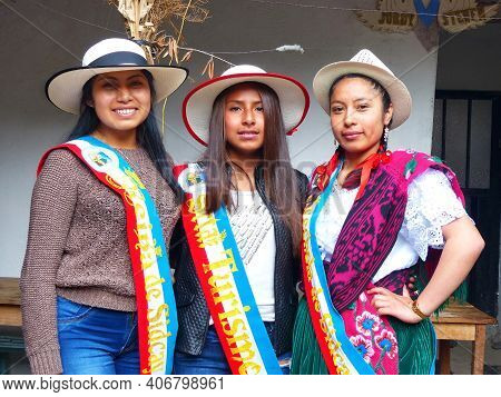 Sidcay, Ecuador - October 7, 2018: Young Women Winners Of Competition In Nominations As Most Prettie