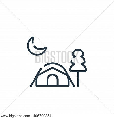 camping tent icon isolated on white background from free time collection. camping tent icon thin lin