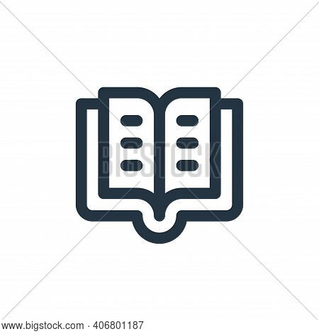 book icon isolated on white background from user interface collection. book icon thin line outline l