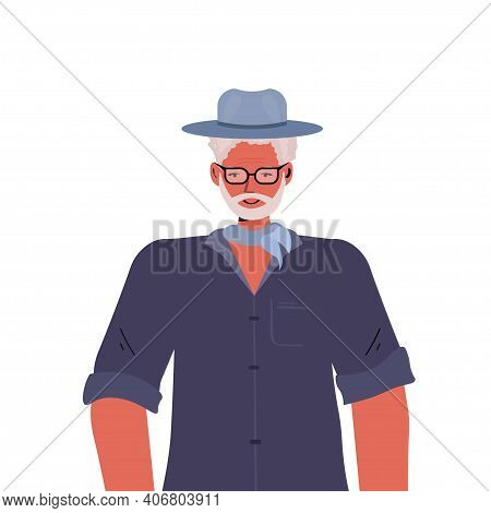 Old Man In Casual Trendy Clothes Senior Male Cartoon Character Gray Haired Grandfather Portrait Vect