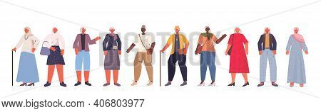 Set Mix Race Old Women In Casual Trendy Clothes Senior Female Cartoon Characters Collection Full Len
