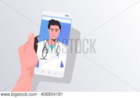 Patient Discussing With Male Doctor In Smartphone Screen Online Consultation Healthcare Medicine Med