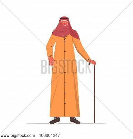 Old Arab Man In Traditional Clothes Senior Male Cartoon Character Standing Pose Gray Haired Grandfat