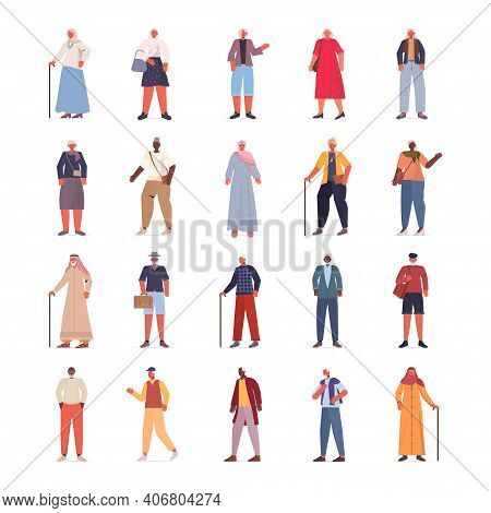 Set Mix Race Old Women Men In Casual Trendy Clothes Senior Female Male Cartoon Characters Collection