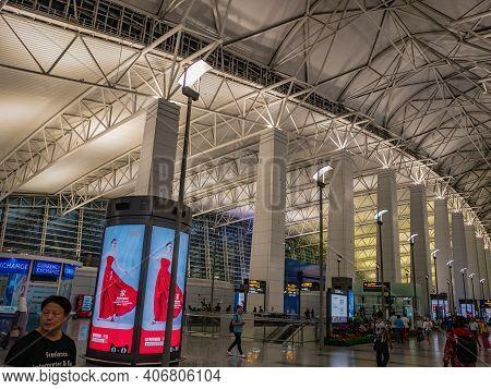 Guangzhou/china-26 Aug 2019:unacquainted People Walking In Baiyun Internation Airport Guangzhou City