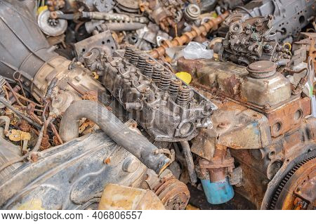 Old Machine Part Or Scrap Parts.scrap Parts Removed From Used Cars And Machinery