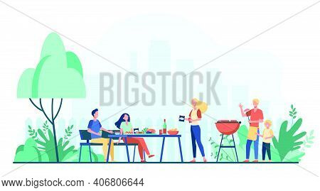 Family Barbecue Party On Backyard. People Grilling Food In Park Or Garden, Sitting At Table And Eati