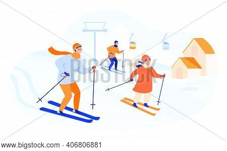 Happy Family Skiing In Mountains. People Spending Winter Vacation At Ski Resort With Elevator And Co