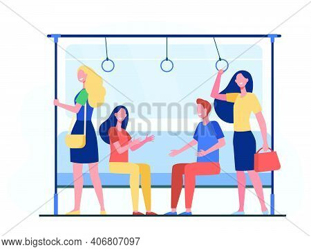 Passengers Traveling By Subway Train. City People Sitting And Standing In Carriage. Vector Illustrat