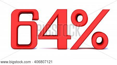 64 Percent Off 3d Sign On White Background, Special Offer 64% Discount Tag, Sale Up To 64 Percent Of