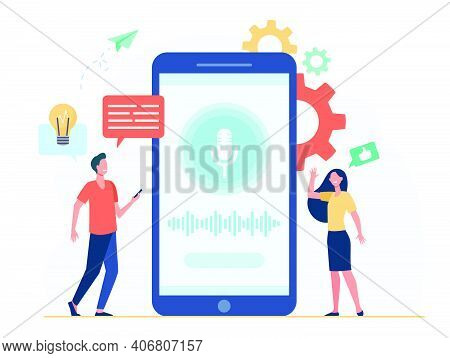 People With Mobile Phones Using Smart Voice Assistant Software. Man And Woman Near Screen With Micro