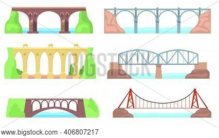 Scenic Views With Bridges Set. Arch Constructions, Aqueducts, Rivers, Cliffs, Landscapes Isolated On