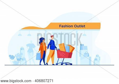 Shoppers Walking Past Fashion Outlet Window. Customers Wheeling Cart With Bags And Packages Flat Vec