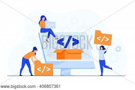Tiny Developers Programming Website For Internet Platform Flat Vector Illustration. Cartoon Programm