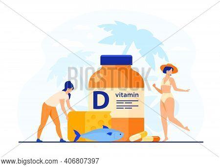 Tiny Women Eating Fatty Fish, Vitamin D, Cheese And Sunbathing Flat Vector Illustration. Cartoon Lad