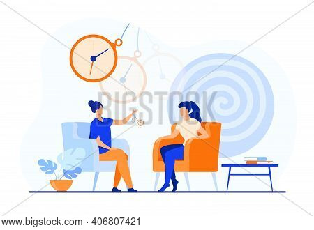 Trance Effect On Woman During Session Of Hypnosis Therapy Isolated Flat Vector Illustration. Abstrac