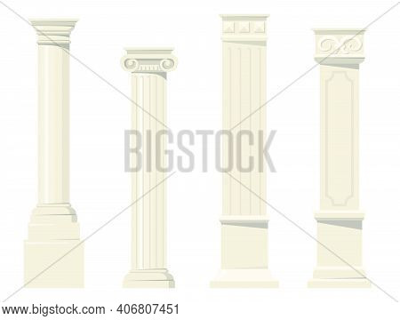Vintage Classic Carved Architectural Pillars Flat Set For Web Design. Cartoon Roman, Renaissance Or