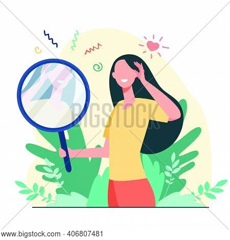 Woman Looking At Mirror Flat Vector Illustration. Cartoon Beautiful Female Characters Smiling To Her