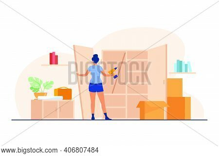 Woman Repairing Wardrobe With Hand Drill. Door, Wood, Assembly Flat Vector Illustration. Furniture A