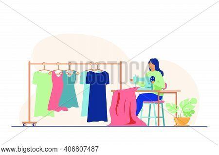 Woman Sewing New Dress On Stitching Machine. Seamstress, Cloth, Apparel Flat Vector Illustration. Fa