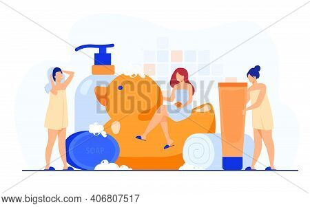 Women Wrapped In Towels Using Sponge And Soap Among Bath Accessories, Tubes And Shampoo Bottles. Vec