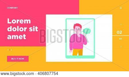 Shh Man On Tablet Computer Screen. Finger, Silence, Speech Bubble Flat Vector Illustration. Communic