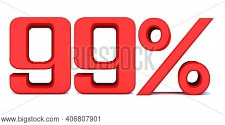 99 Percent Off 3d Sign On White Background, Special Offer 99% Discount Tag, Sale Up To 99 Percent Of