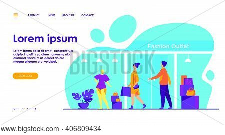 Consumers Walking Along Street Near Apparel Store Flat Vector Illustration. Shop Mannequins In Showc