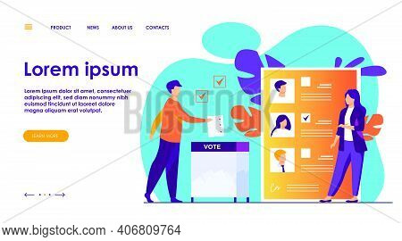 Election Or Referendum Campaign. Citizens Voting For Candidates, Inserting Survey Form To Ballot Box