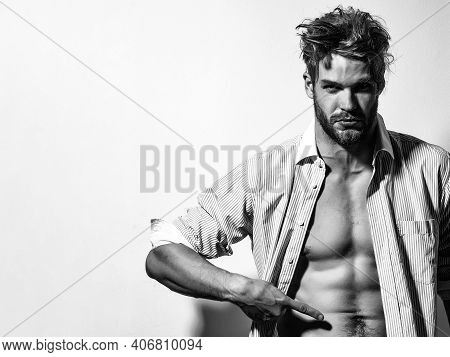 Muscular Shirtless Male Model Showing Sexy Bare Torso. Metrosexual Mans Naked. Shirtless Athletic Ho