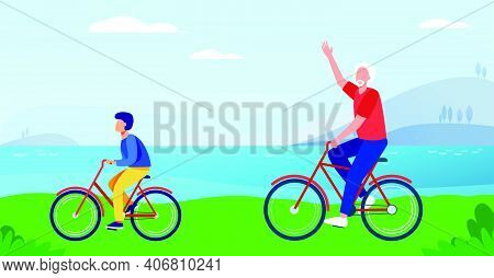 Active Grandfather And Grandson Riding Bikes Together. Old Man And Boy Cycling Outdoors Flat Vector