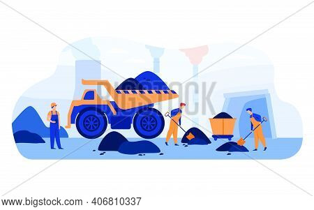 Coal Pit Workers In Overalls Digging Heaps Of Coal With Spades Near Carts, Truck And Smoking Plant P