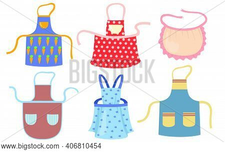 Cute Kitchen Aprons With Patterns Flat Item Set. Cartoon Cooking Dress For Housewife Or Chef Of Rest