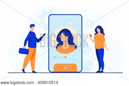 Face Recognition And Data Safety. Mobile Phone Users Getting Access To Data After Biometrical Checki