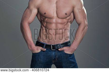 Sexy Man. Healthy Muscular Mans Body. Topless Shirtless Male Naked Model Guy