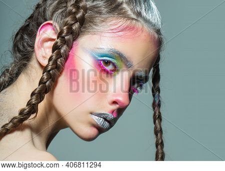 Braids Hairstyle Of Sexy Woman. Visage And Skincare, Hairstyle And Hairdresser. Girl With Pigtails.