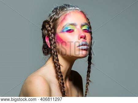 Art Female Portrait. Braids Hairstyle Of Sexy Woman. Visage And Skincare, Hairstyle And Hairdresser.