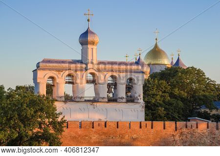 The Belfry Of St. Sophia Cathedral Close-up In Early July Morning. Kremlin Of Veliky Novgorod, Russi