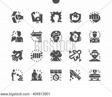 Force. Strong Beat. Medal For Heroism. Fist, Muscle, Hit, Fighter, Gun, Shot And Defender. Vector So
