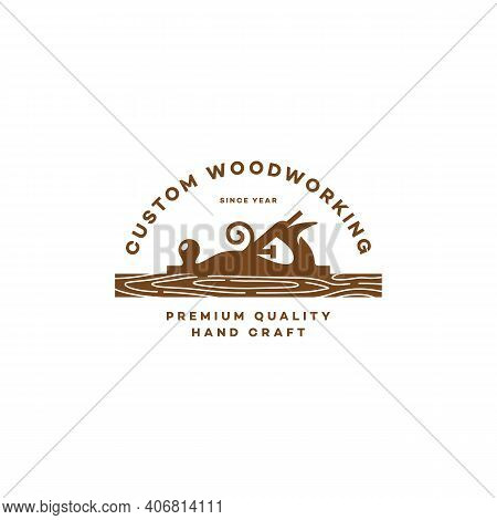 Logo Design Template With A Hand Plane And A Wooden Board For Wood Shop, Carpentry, Woodworkers, Woo