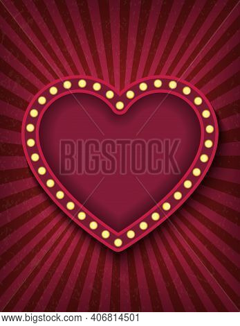 Brightly Glowing Red Heart Retro Cinema Neon Vertical Sign. Saint Valentine Day Circus Style Show Ba