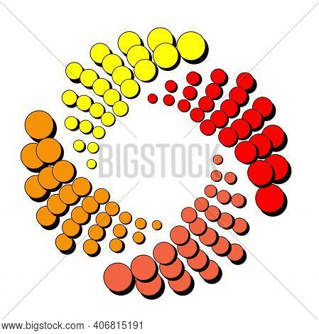Spiral Of Dots In Yellow Orange And Red Four Shades With Shadows. Abstract Dotted Eps10 Vector Backg