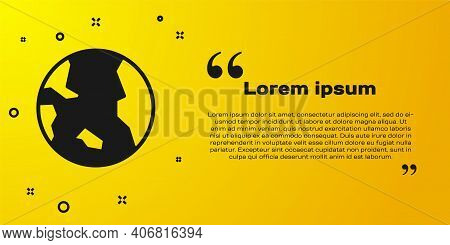 Black Earth Globe Icon Isolated On Yellow Background. World Or Earth Sign. Global Internet Symbol. G