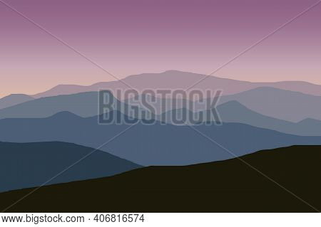 Mountain Ridge Landscape Vector Illustration With Purple Gradient Color. Mountains Ridge Scenery Bac