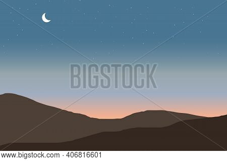 Mountain View At Dusk. Towards Evening Clear Sky Full Of Stars Vector Illustration. Mountains Ridge