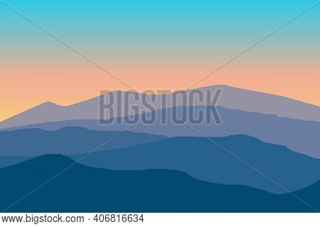 Vector Illustration Of Mountain Landscape Before Sunrise With Gradient Color. Mountains Ridge Scener