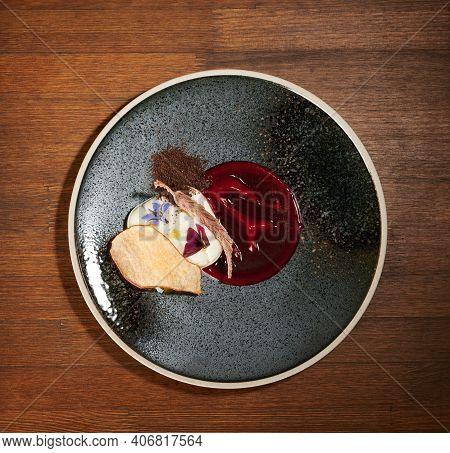 Plate With Panna Cotta Dessert